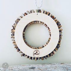 Driftwood Wreath with Shades of Aqua Sea Glass - Sizes 12