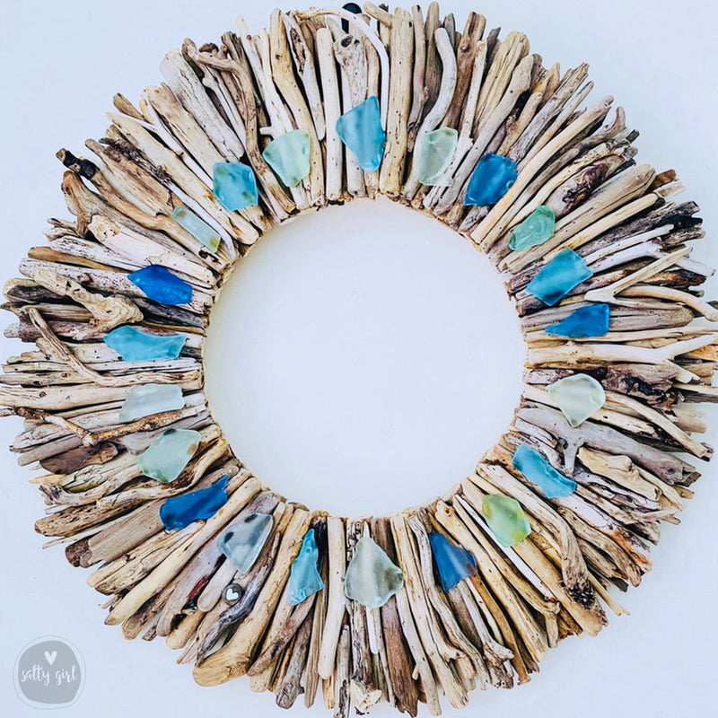 "Driftwood Wreath with Aqua Turquoise & Periwinkle Sea Glass Accents 12"" - 16"" - 20"""