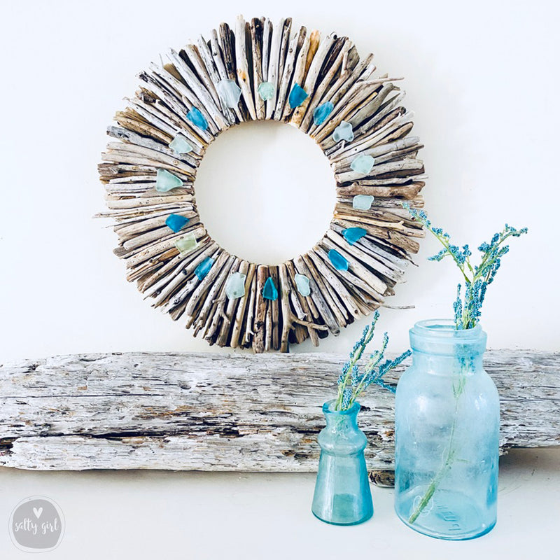 "Driftwood Wreath with Shades of Aqua Sea Glass - Sizes 12"" - 16"" - 20"""