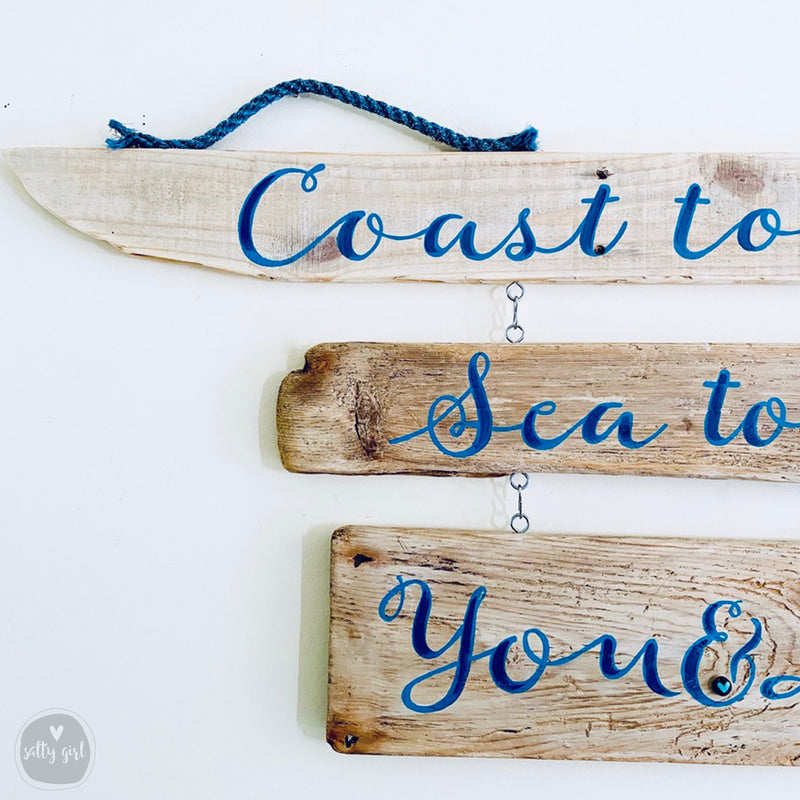 Personalized Driftwood Sign with 3 Tiers and Rope Hangers