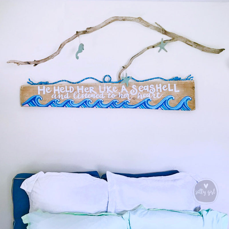 Personal Driftwood Sign with Whimsical Waves and Fishing Rope hanger
