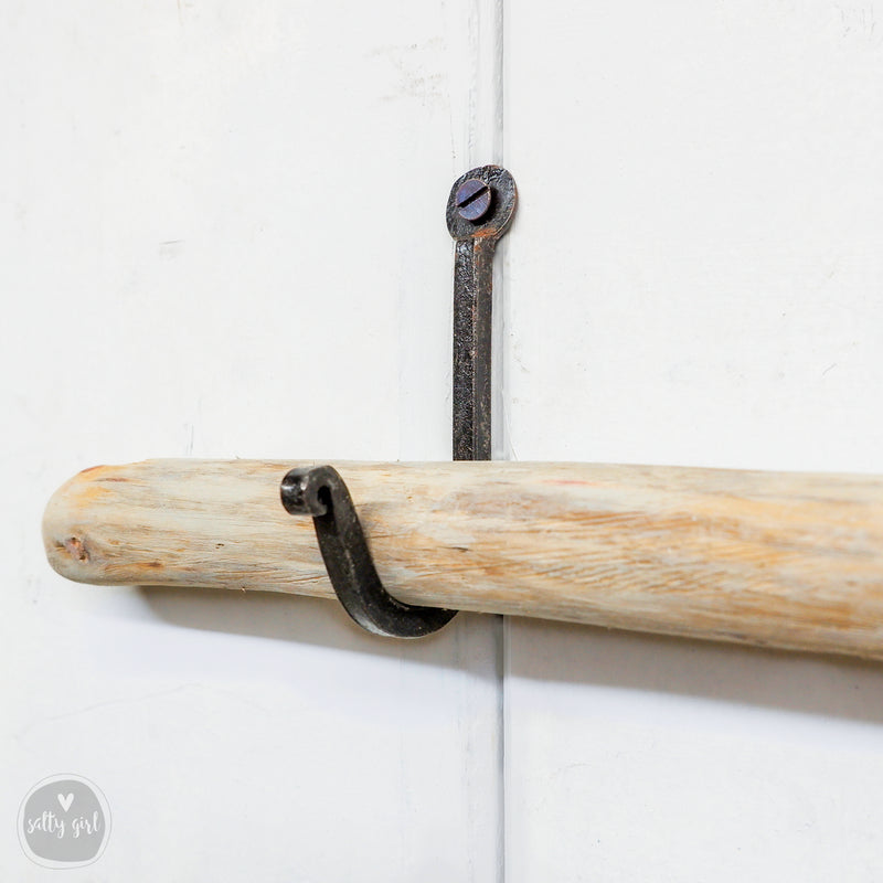 Hand Forged Wrought Iron Curtain Hooks - 2 Single Prong Coat Hooks