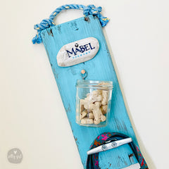 Personalized Dog Leash Holder Rack with Treat Jar