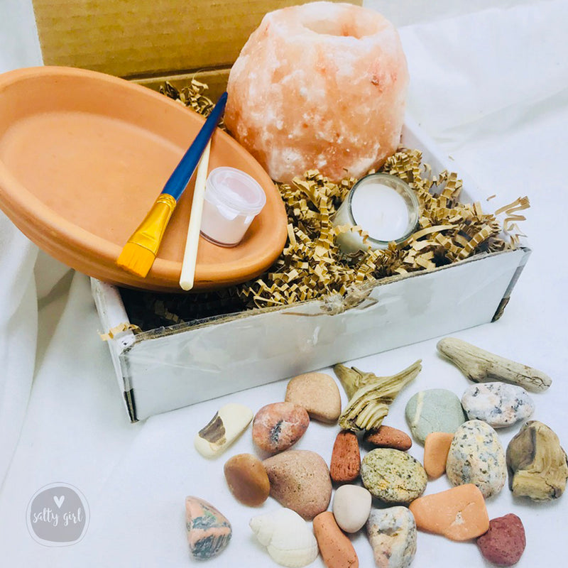 DIY Beach Craft Kit - Himalayan Salt Candle & Maine Beach Treasures Kit - Friendship Craft Gift - Thinking of You Craft Kit - Send a Gift