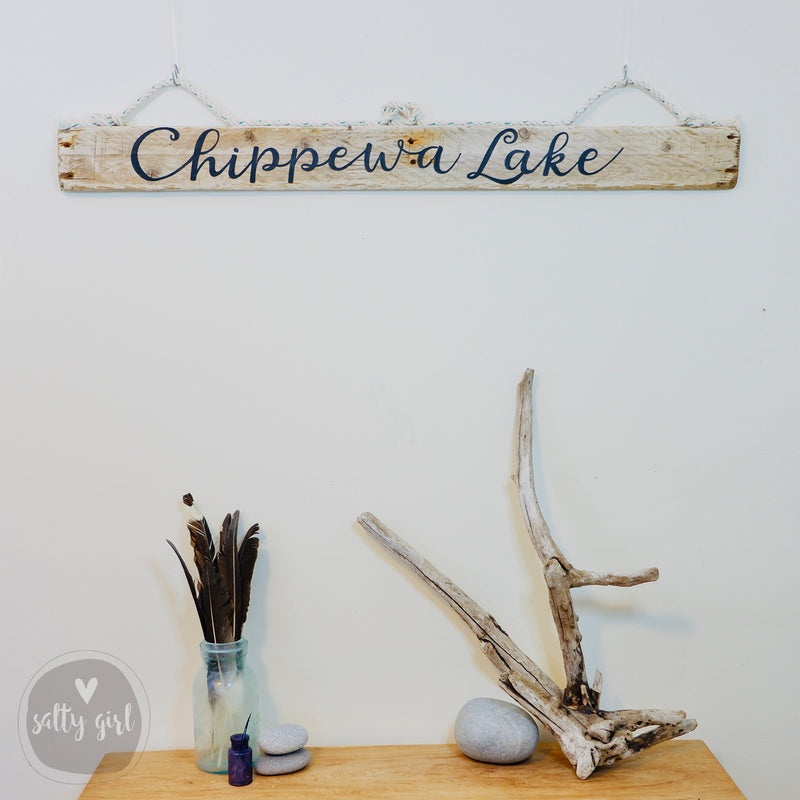 Rustic Lake Sign with Fishing Rope Hanger