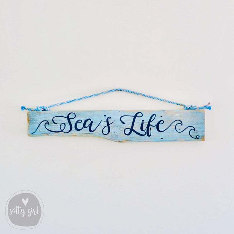 "Driftwood Sign with Fishing Rope Hanger ""Seas Life"""