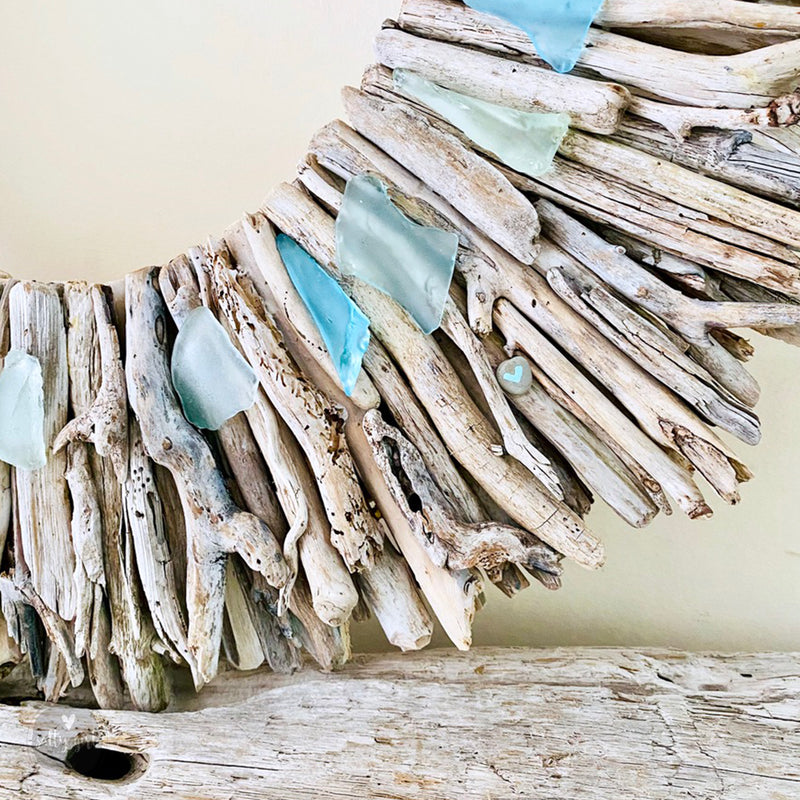 "Maine Driftwood Sunburst Wreath with Subtle Blue & Green Sea Glass Accents by Artist Cherie Herne - Sizes: 20"" or 24"""