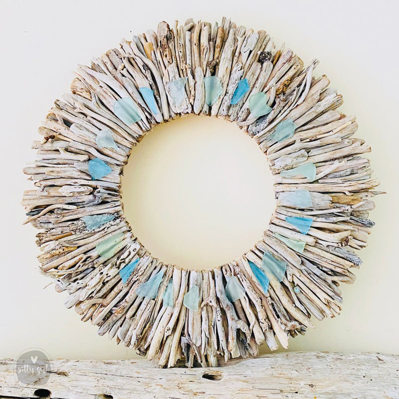 "Maine Driftwood Sunburst Wreath with Subtle Blue & Green Sea Glass Accents by Artist Cherie Herne - Sizes: 20"" or 24"" 