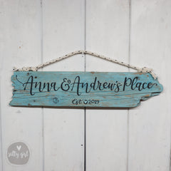 Personalized Established Sign - Driftwood with Fishing Rope Hanger