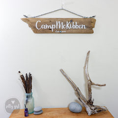 Driftwood Sign with Personal Words and Rope Hanger