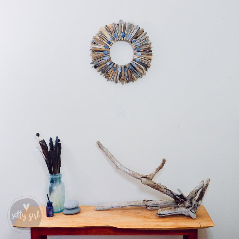 "Driftwood Wreath with Indigo Blue Maine Mussel Shell Accents by Maine Artist Cherie Herne - Sizes 12"" or 16"""