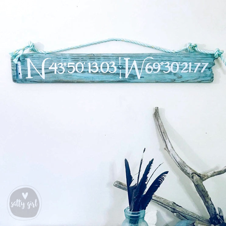 Coordinates Driftwood Sign with Lighthouse Graphic - Longitude Longitude Sign with Rope Hanger