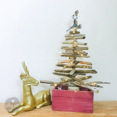 2 Ft Tabletop Driftwood Christmas Tree in a Wooden Crate with Starfish Topper and Twinkle Lights