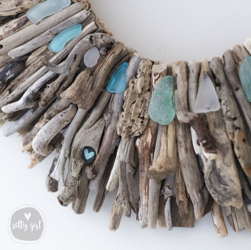 "Driftwood Wreath with Shades of Aqua Sea Glass Accents 16 or 20"" by Maine Artist Cherie Herne"