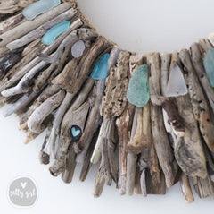 Driftwood Wreath with Shades of Aqua Sea Glass Accents 16 or 20