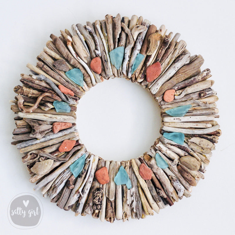 "Driftwood Wreath with Maine Beach Brick & Aqua Sea Glass Accents by Maine Artist Cherie Herne - Sizes 12"" or 16"""