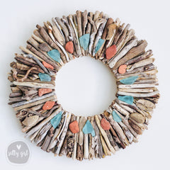 Driftwood Wreath with Maine Beach Brick & Aqua Sea Glass Accents by Maine Artist Cherie Herne - Sizes 12