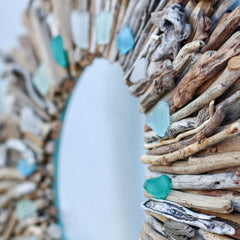 Driftwood Wreath with Shades of Aqua Sea Glass Accents by Maine Artist Cherie Herne