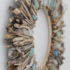 Large Driftwood Wreath with Aqua Shades of Sea Glass Accents by Maine Artist Cherie Herne - Sizes: 24