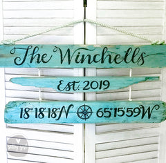 Custom Coordinates & Family Name Driftwood Sign with Rope Hanger - Personalized Longitude Latitude Sign