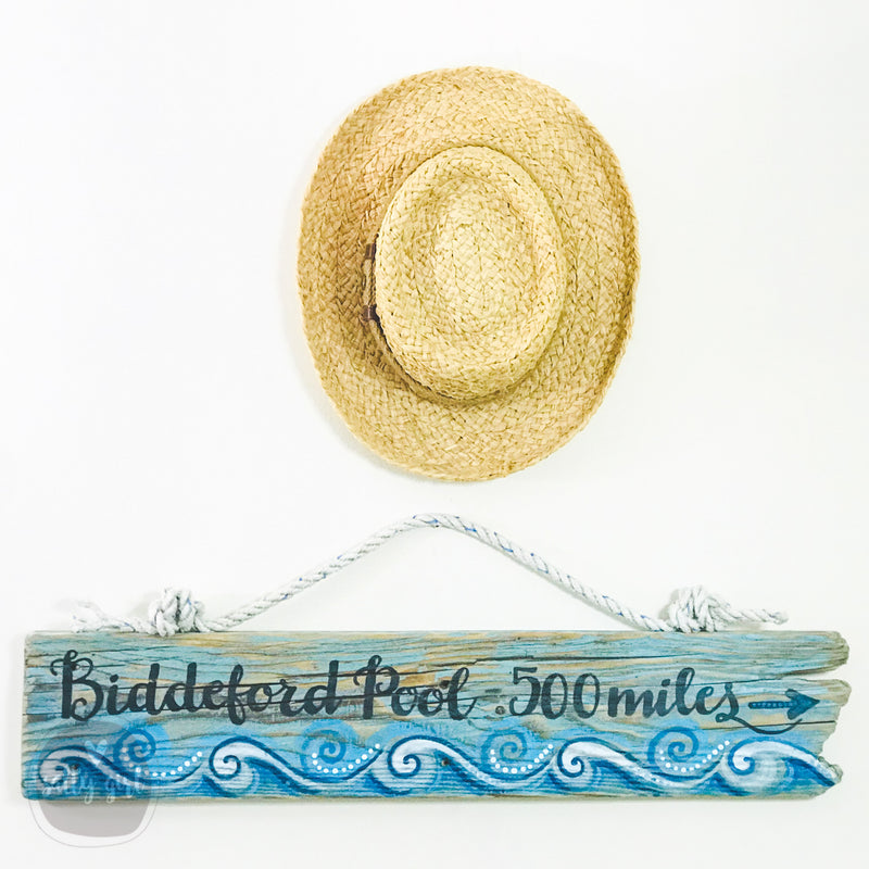 Driftwood Sign with Whimsical Waves and Custom Words and Rope hanger