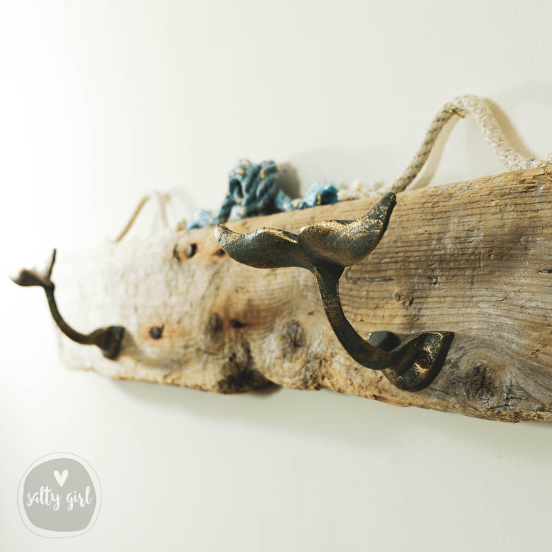 Whale Tail Driftwood Wall Rack with Fishing Rope Hanger