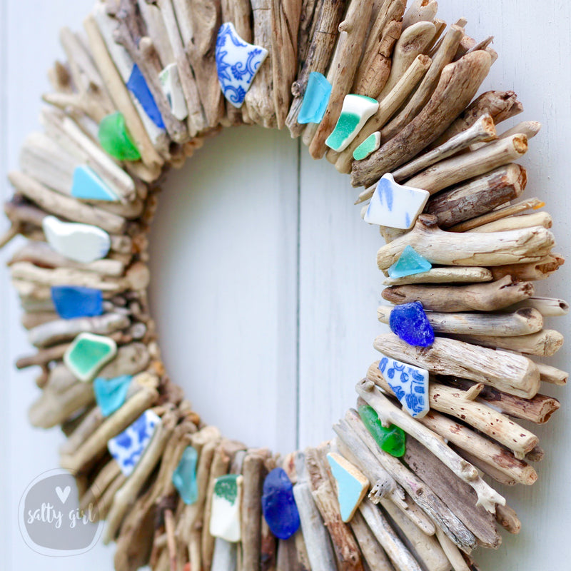 "Driftwood Wreath with Beach Pottery and Sea Glass Accents - 16"" or 20"""