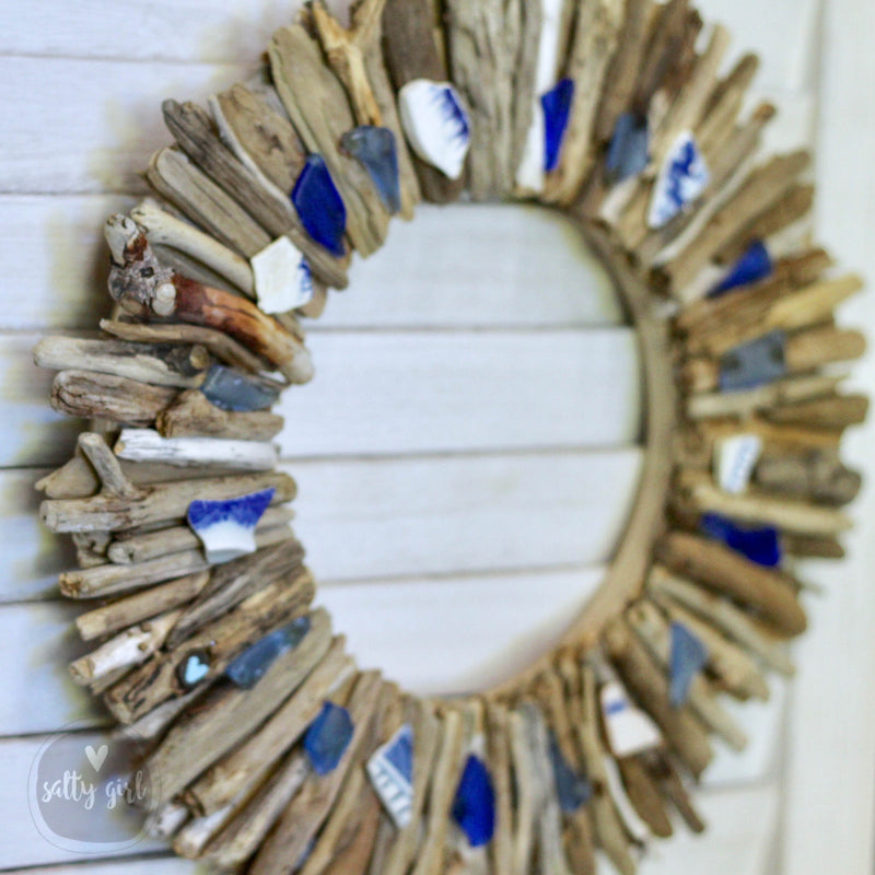 "Design Your Own 20"" Driftwood Wreath with Choice of Sea Glass or Beach Pottery"