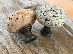 Natural Maine Beach Stone Knobs - 3 Color and Shape Choices