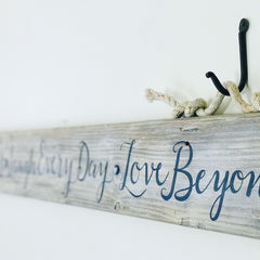 Driftwood Headboard Sign with Fishing Rope Hanger 54-