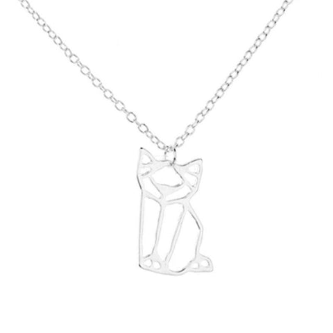 Image of Pendentif Chat Origami - Couleur Argent ou Or - LeChatQuiBoude