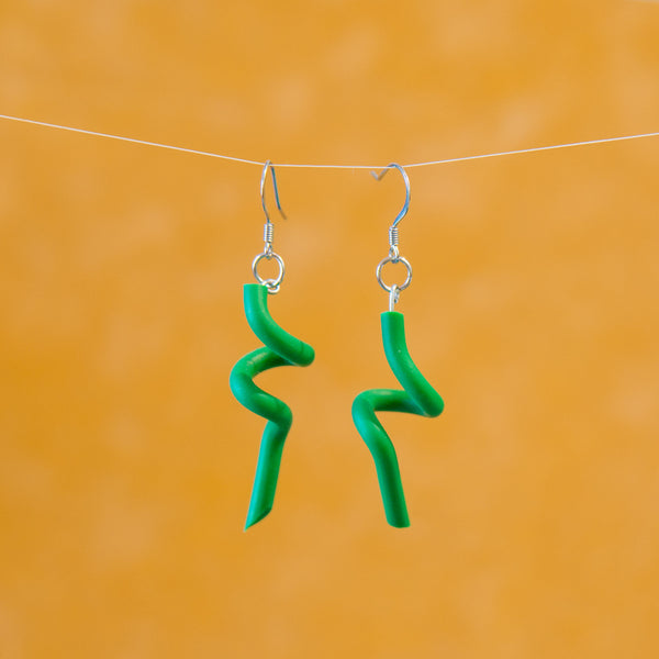 Green Twist Earrings Made From Garden Tool Parts