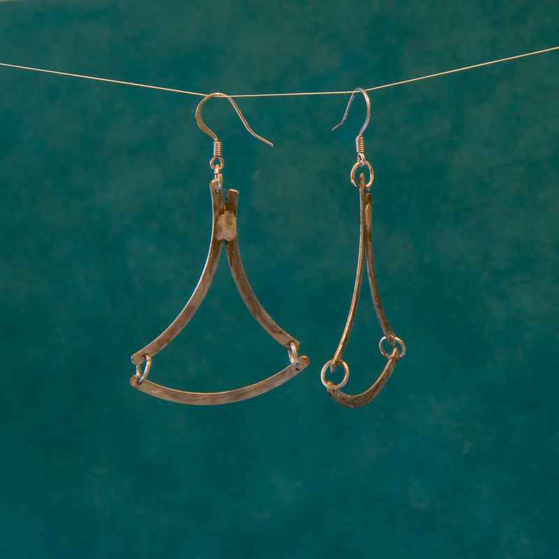Arched Triangle Dangle Earrings