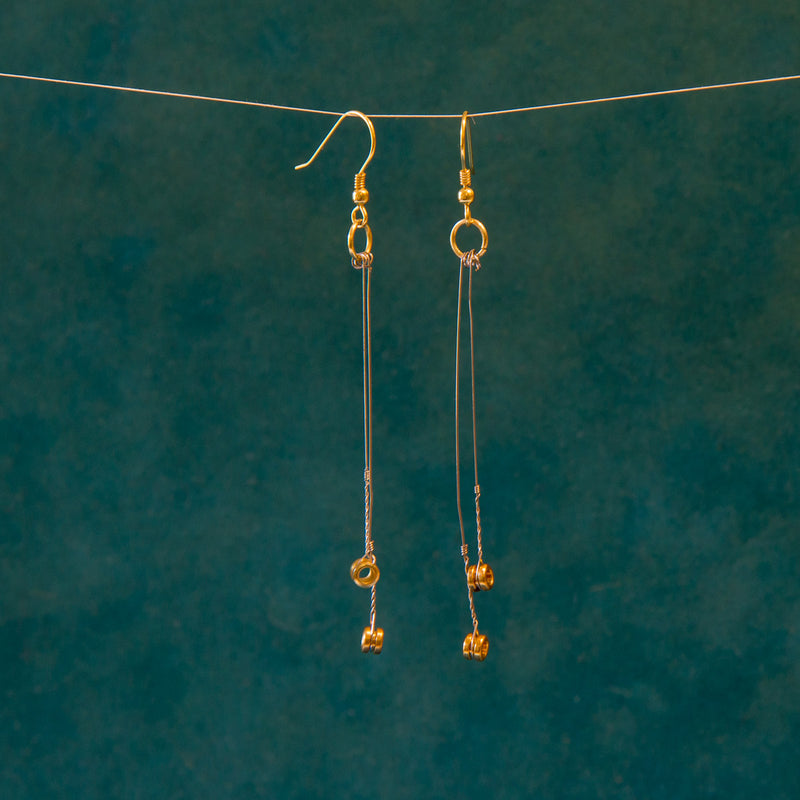 Double-Dangle Guitar String Earrings