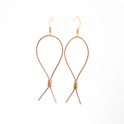 Rose Gold-Toned Guitar String Loop Earrings