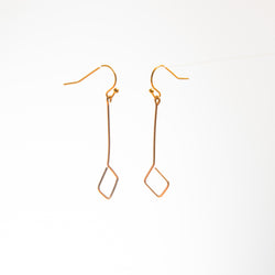 Brass Wire Diamond-Shaped Drop Earrings