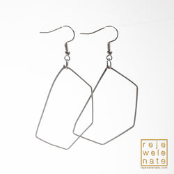 Guitar String Geometric Silver-Toned Dangle Earrings