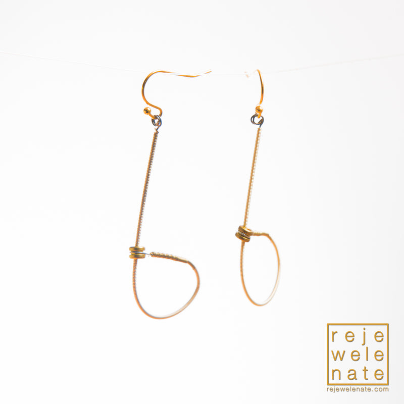 Gold-toned Guitar String Looped Dangle Earrings