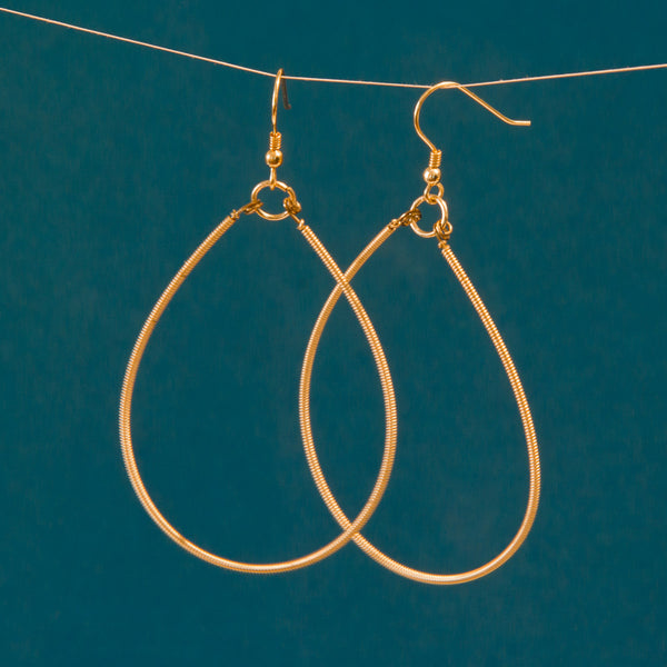 Gold-Toned Guitar String Teardrop Earrings, Large