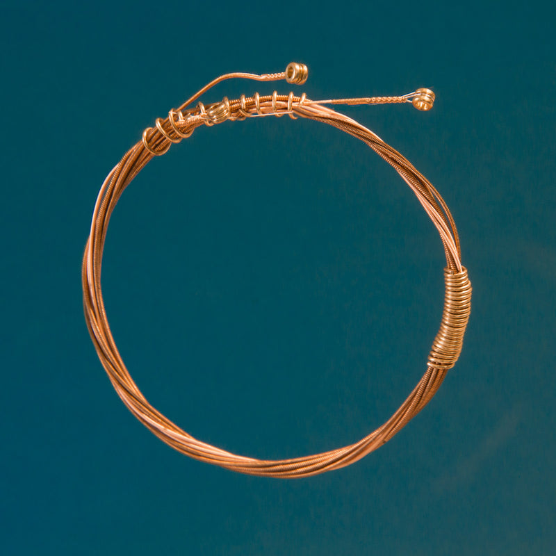 Gold-Toned 3-Strand Guitar String Bracelet with Original 3 Brass Ferrules
