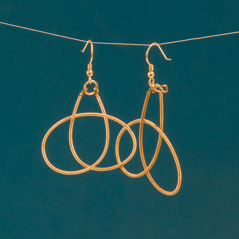 Gold-Toned Guitar String Knot Earrings