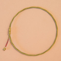 Single-Strand Guitar String Bracelet with Red Wrap and Brass Ferrule