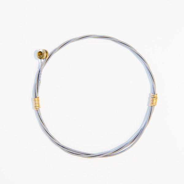 Two-toned Guitar String Bracelet with Brass Wrap and Ferrule