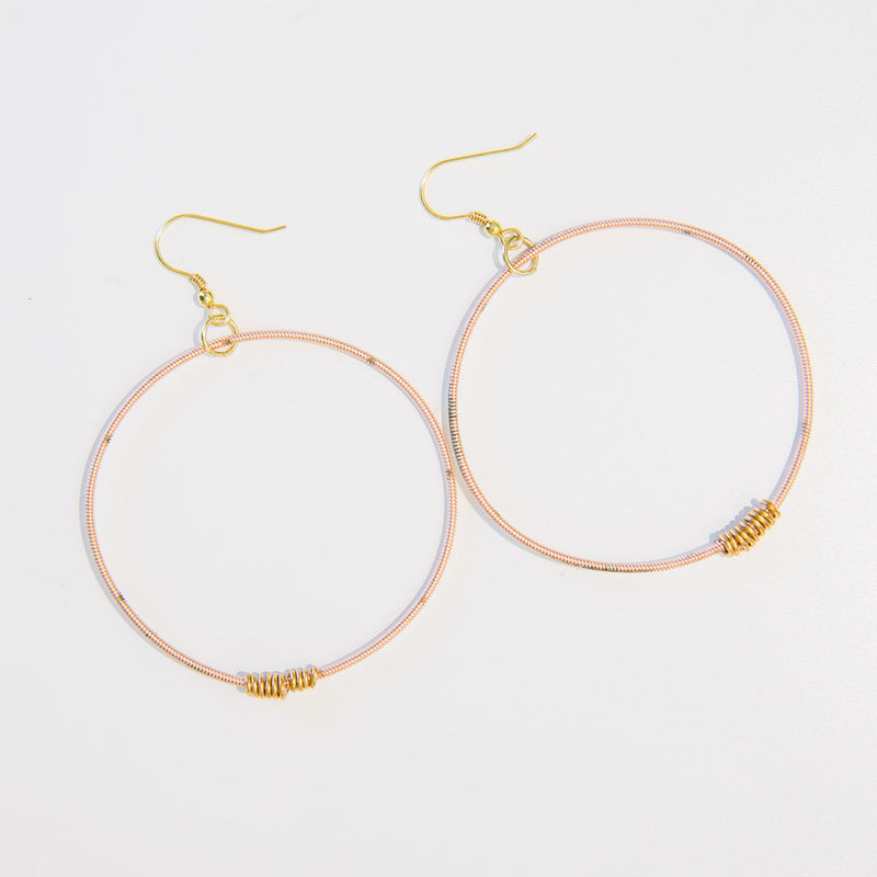 Rare Rose Gold-Toned Guitar String Hoop Earrings With Brass Wraps