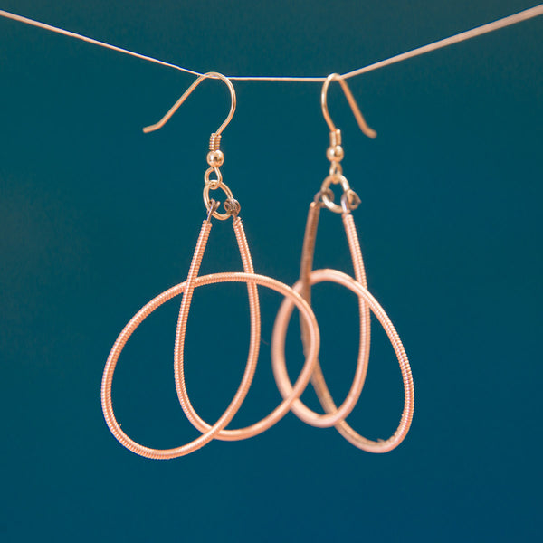 Rare Rose Gold-Toned Guitar String Knot Earrings