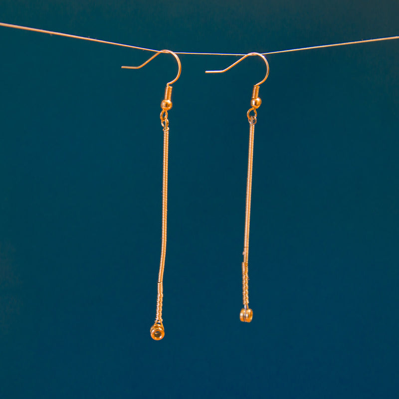 Single Gold-Tone Guitar String Straight Dangle Earrings