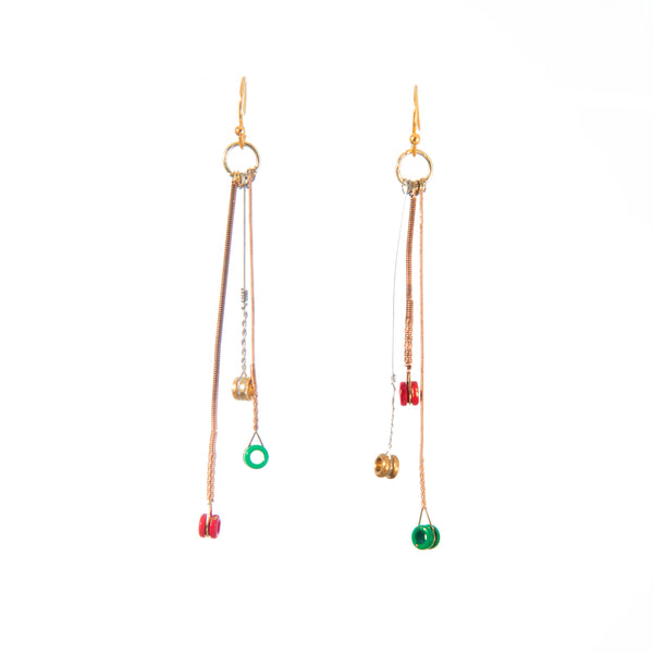 """Christmas"" Asymmetrical Guitar String Tri-Dangle Earrings"
