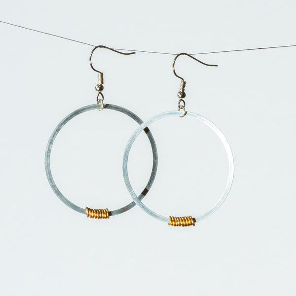 Mini Hoopy Earrings, with Single Brass Wrap