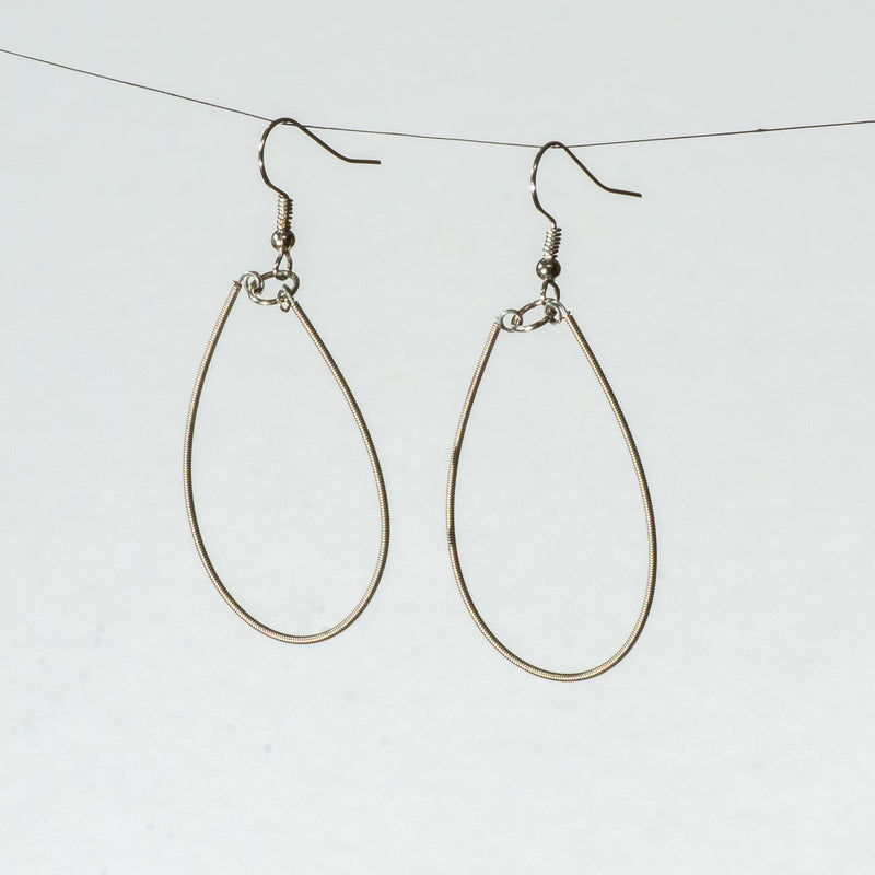 Small Guitar String Teardrop Earrings