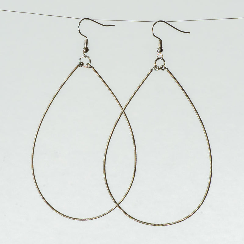 Guitar String Teardrop Earrings, Large